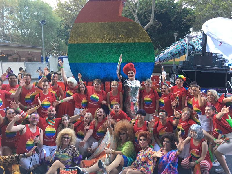Vodafone celebrating at Mardi Gras Parade, Sydney