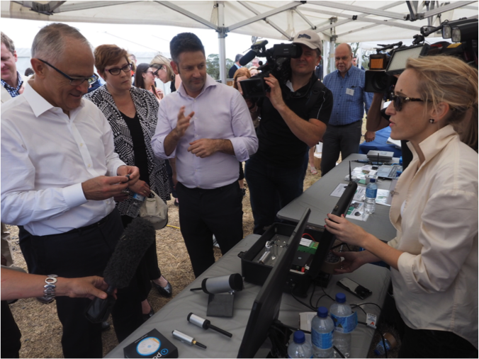 Vodafone's Internet of Things team with PM Malcolm Turnbull