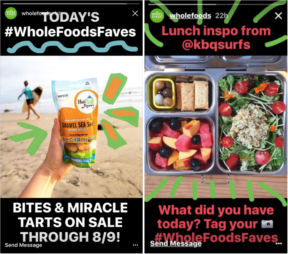Shots of Wholefoods' Instagram, including sales and recipies