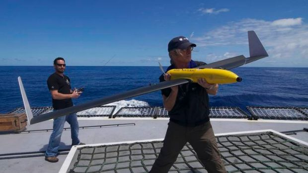 Sea Shepard launch drones from their deck.